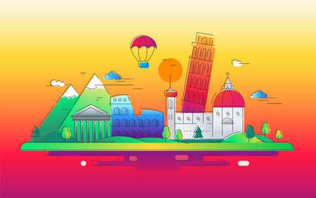 Italy - vector line travel illustration