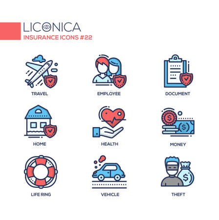 Insurance - coloured modern single line icons set