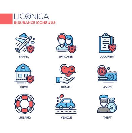 Insurance - coloured modern single line icons set