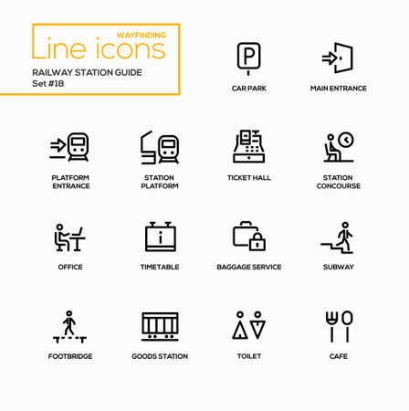 Railway Station Guide - modern vector single line icons set Illustration