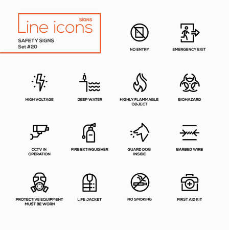 Safety Signs - modern vector single line icons set