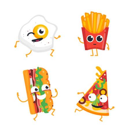 Fast Food Characters - vector set of mascot illustrations.
