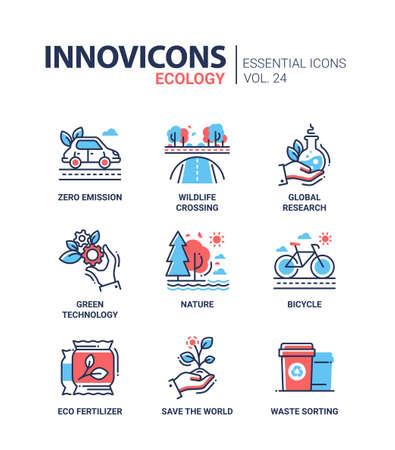 Ecologie - vecteur couleur moderne icônes de ligne ensemble unique Banque d'images - 75069603