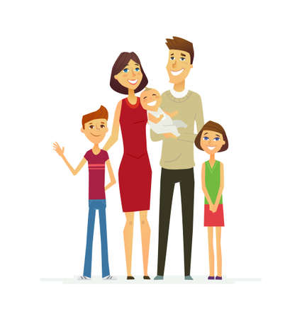 Family - coloured modern flat illustrative composition.