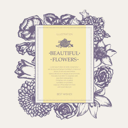 Beautiful Flowers - monochromatic hand drawn square banner.