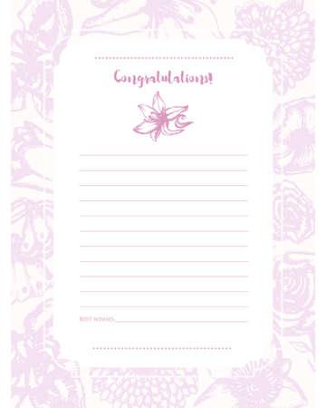 Beautiful Flowers - monochromatic hand drawn template card.