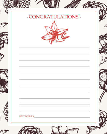 Beautiful Flowers - monochromatic hand drawn template card.