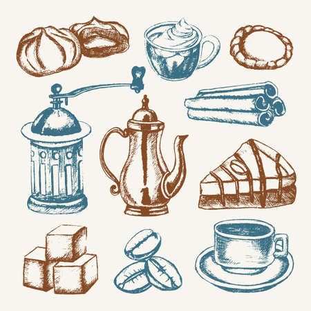 coffee grinder: Delicious Coffee - colored hand drawn illustrative composition.