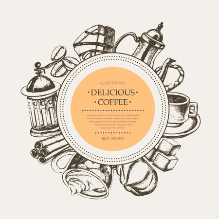Delicious Coffee - monochromatic hand drawn round banner.