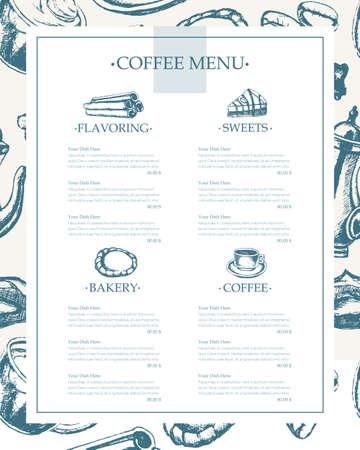 Delicious Coffee - monochromatic hand drawn template menu