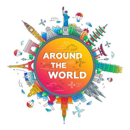 전 세계 - 평면 디자인 여행 구성