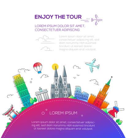 ツアー - フラット デザイン旅行構成をお楽しみください。  イラスト・ベクター素材