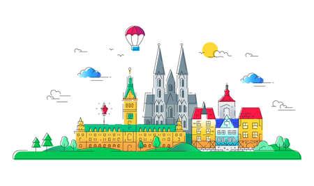 유럽 국가 - 벡터 라인 여행 그림