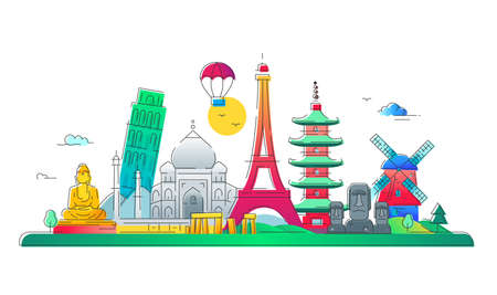 Countries - modern vector line travel illustration. Discover India, Japan, France, Italy, Netherlands. Have a trip, enjoy your vacation. See great landmarks like eiffel tower, tower of pisa, buddha monument, torii, windmill, taj mahal