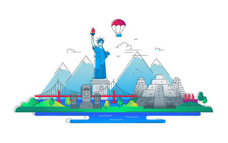 America - vector line travel illustration Illustration