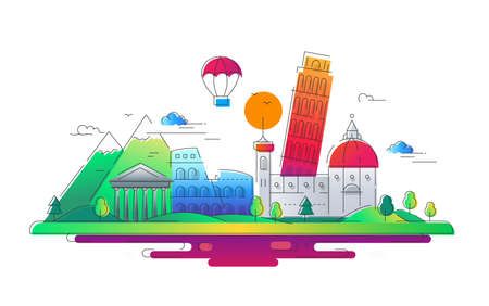 Italy - vector line travel illustration