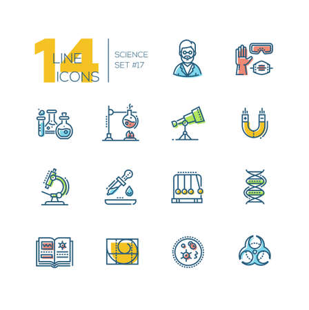 Science-colored moderne single line icons set Stock Illustratie