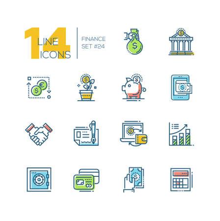 Finance - colored modern single line icons set