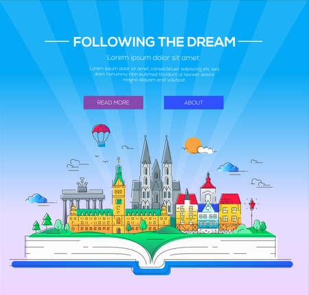 exciting: Following the dream - modern line travel illustration. Discover Netherlands and Germany. Have a trip, enjoy your vacation. Be on a safe and exciting journey. Landmarks on a book - cathedrals, palaces and museums
