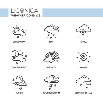 Weather - black and white vector modern single line icons set. Cloudy, sunny, windy, day and night, snow, rainbow, thunderstorm, lightning, shower of hail, rain.