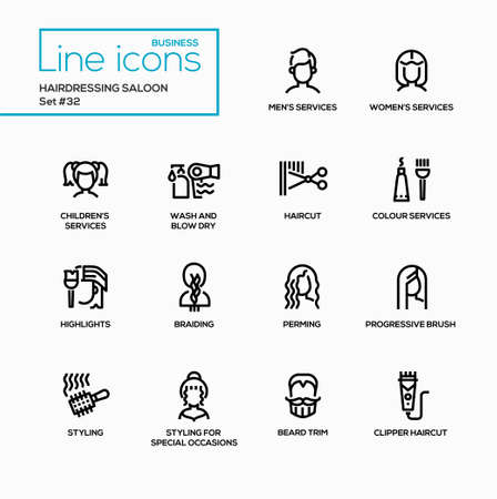 Hairdressing Saloon - modern vector single line icons set. Service for men, women, and others.