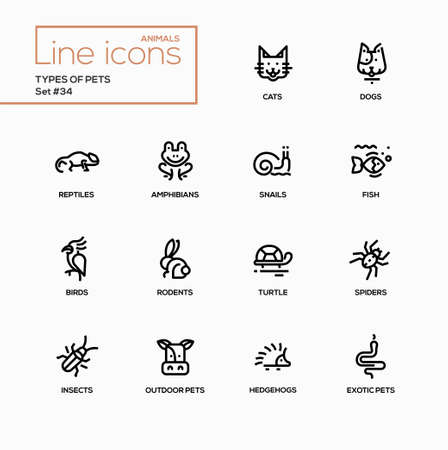 interesting: Types of pets - modern vector single line icons set. Reptile, cat, dog, amphibian, and others.