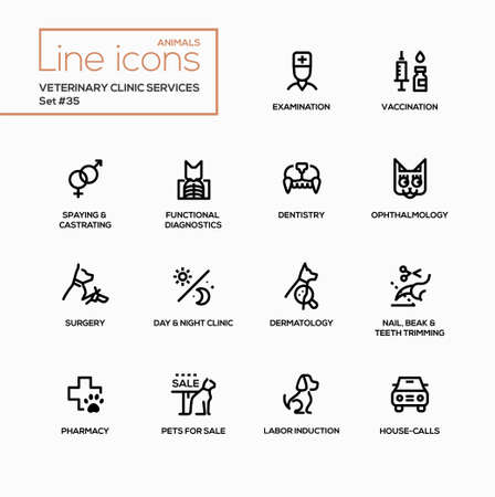 spaying: Veterinary clinic services - modern vector single line icons set. Examination, vaccination, spaying, and others. Illustration