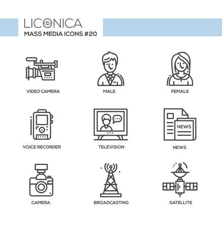 Mass Media - monochromatic vector modern single line icons set. Male, female reporter, and others.