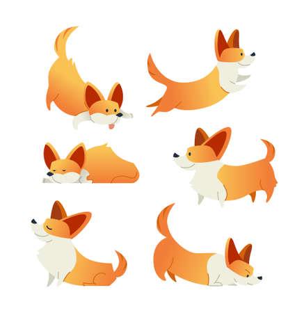 Dog - modern set of flat illustrations.