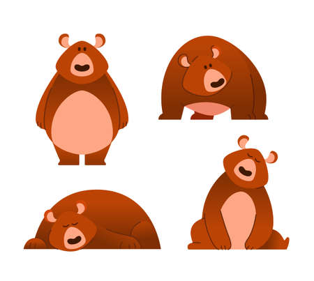 Bear - modern set of flat cartoon animal characters. Different poses and emotions. Illustration