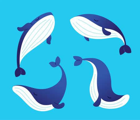 クジラ - フラット イラストの近代的なセット。  イラスト・ベクター素材