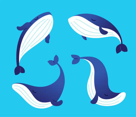 Whale - modern set of flat illustrations. Фото со стока - 76422352