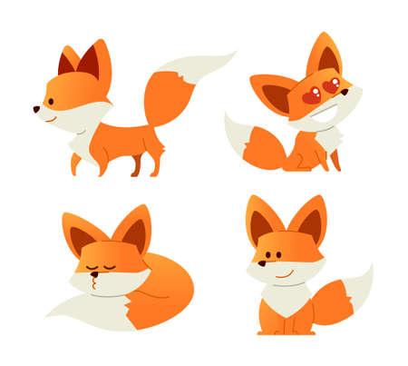 Fox- modern set of flat illustrations.