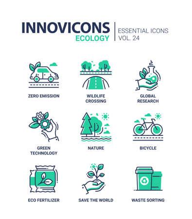 Ecologie - moderne kleur single line icons set