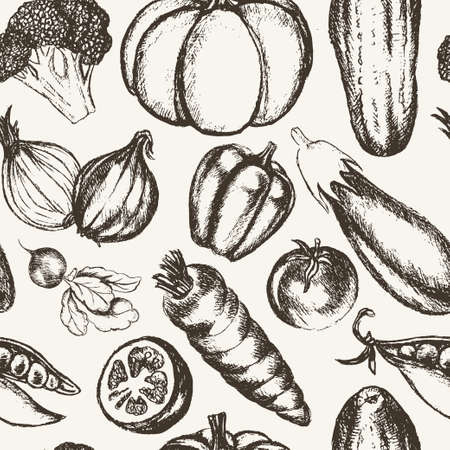 Vegetables - black and white hand drawn seamless pattern
