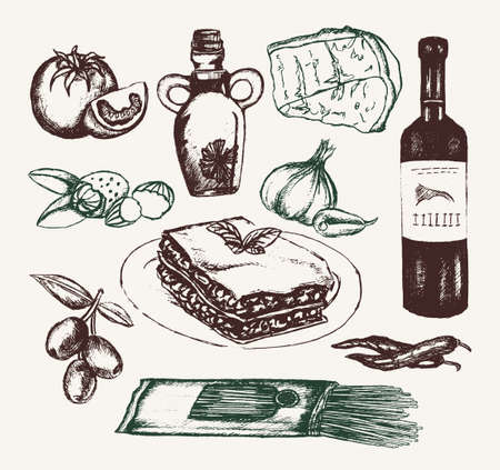 Italian Food - hand drawn illustrative composition. Illustration