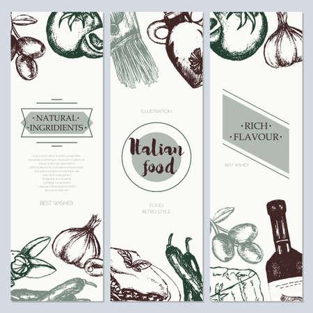 Italian Food - color hand drawn square flyer. Illustration