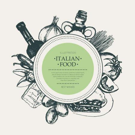 Italian Food - hand drawn round banner. Illustration