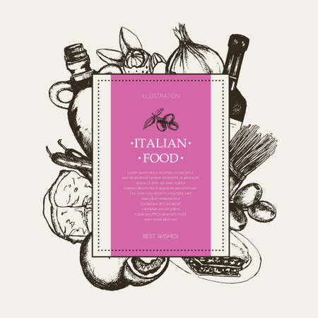 Italian Food - black and white hand drawn square banner.