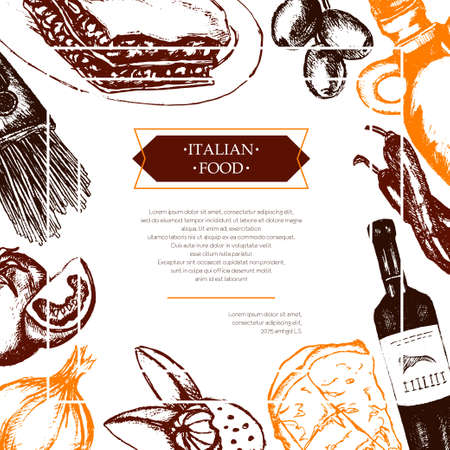 Italian Food - color hand drawn composite flyer.