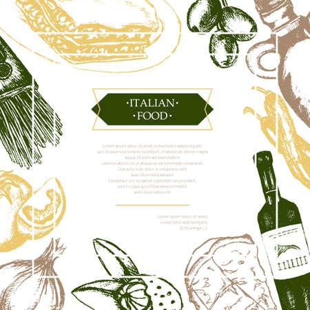 food: Italian Food - color hand drawn composite flyer.