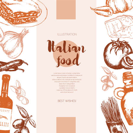 Italian Food - color hand drawn composite banner.