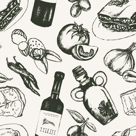 Italian Food - black and white hand drawn seamless pattern