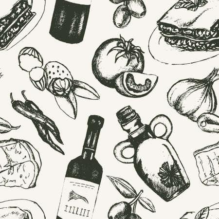 Italian Food - black and white hand drawn seamless pattern