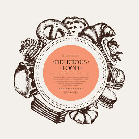 Delicious Sweets - monochromatic vector hand drawn round banner with copyspace.
