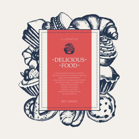 eclair: Delicious Sweets - monochromatic vector hand drawn square banner with copyspace. Illustration