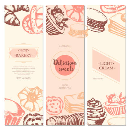 eclair: Delicious Sweets - three piece color vector hand drawn square template card with copyspace.