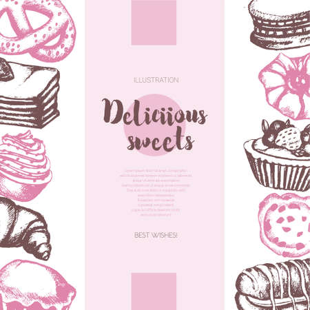 eclair: Delicious Sweets - color vector hand drawn composite banner with copyspace. Realistic pastry, cake, macaroon, croissant, pretzel, cookie, ccupcake, muffin, eclair. Illustration