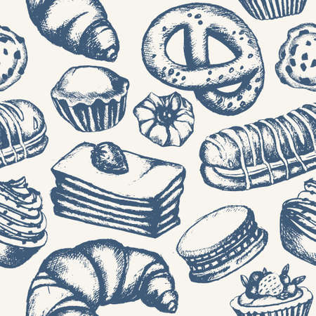 Delicious Sweets - monochromatic vector hand drawn seamless pattern. Realistic pastry, cake, macaroon, croissant, pretzel, cookie, ccupcake, muffin, eclair.