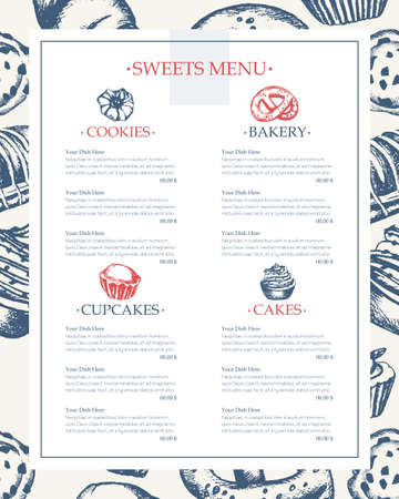 Delicious Sweets - monochromatic vector hand drawn composite template menu with copyspace. Realistic pastry, cake, macaroon, croissant, pretzel, cookie, ccupcake, muffin, eclair.